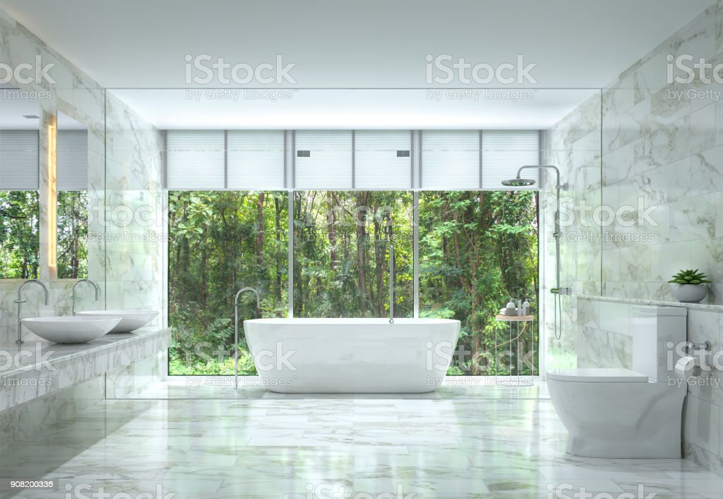 Modern luxury bathroom with nature view 3d rendering image stock photo