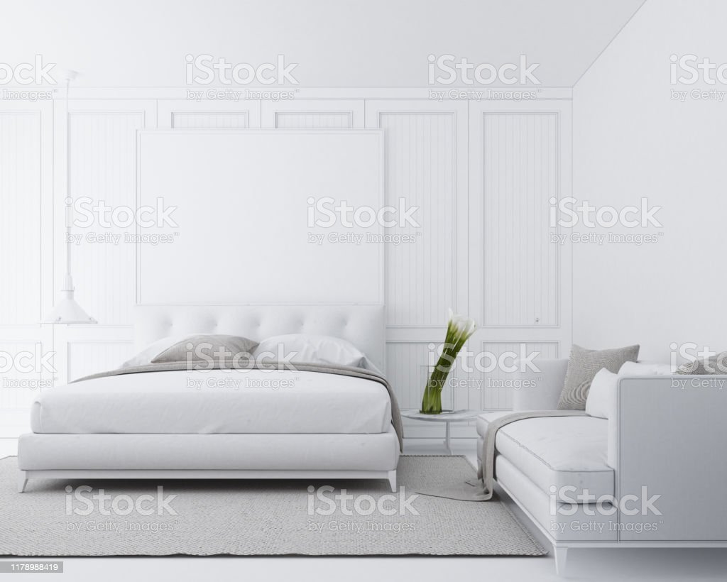 Modern Luxury Bedroom With Classic Wall Decorate And White Furniture 3d Render Stock Photo Download Image Now Istock
