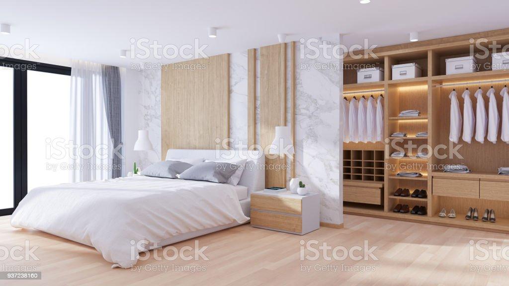 Moderner Luxus Schlafzimmer Und Ankleide Interior Design 3d Render ...