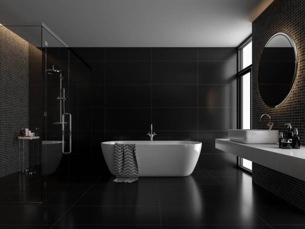 Modern luxury black bathroom 3d render stock photo