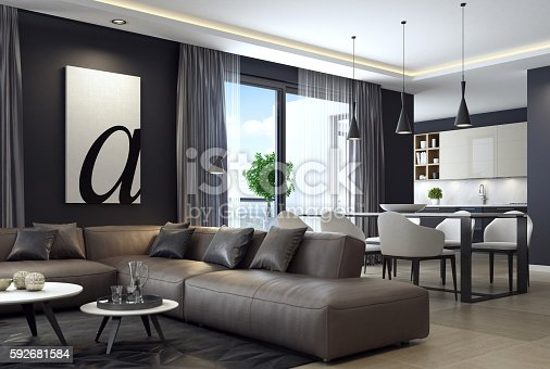 istock Modern luxury black style apartment with leather sofa 592681584