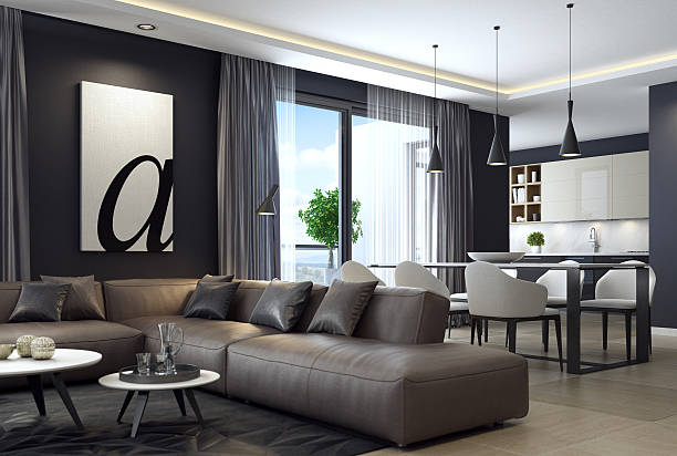 Modern luxury black style apartment with leather sofa - Photo