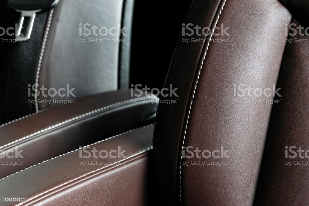 Modern Luxury Car Brown Leather Interior Part Of Leather Car Seat Details With White Stitching Interior Of A Car Comfortable Perforated Leather Seats Brown Perforated Leather Car Detailing Stock Photo Download