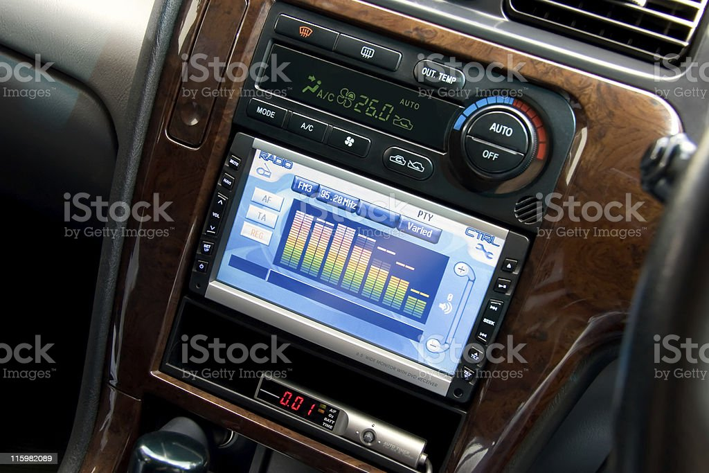 Modern luxury car interior stock photo