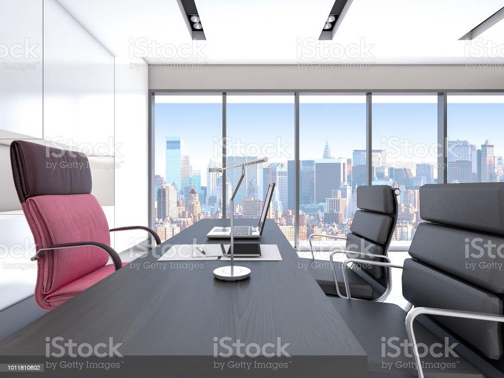 Modern Luxury Ceo Office Interior Design With Cityscape 3d ...