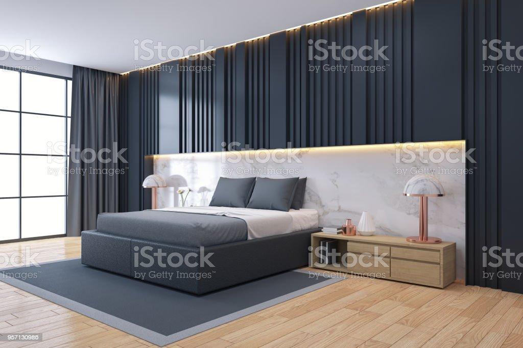 Moderne Luxus Dunklen Schlafzimmer Innenarchitektur 3d Render Stock