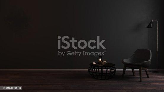 Modern luxury dark living room interior background with grey armchair in night light, dark room interior mock up, black empty wall mockup, vintage living room mockup, 3d rendering