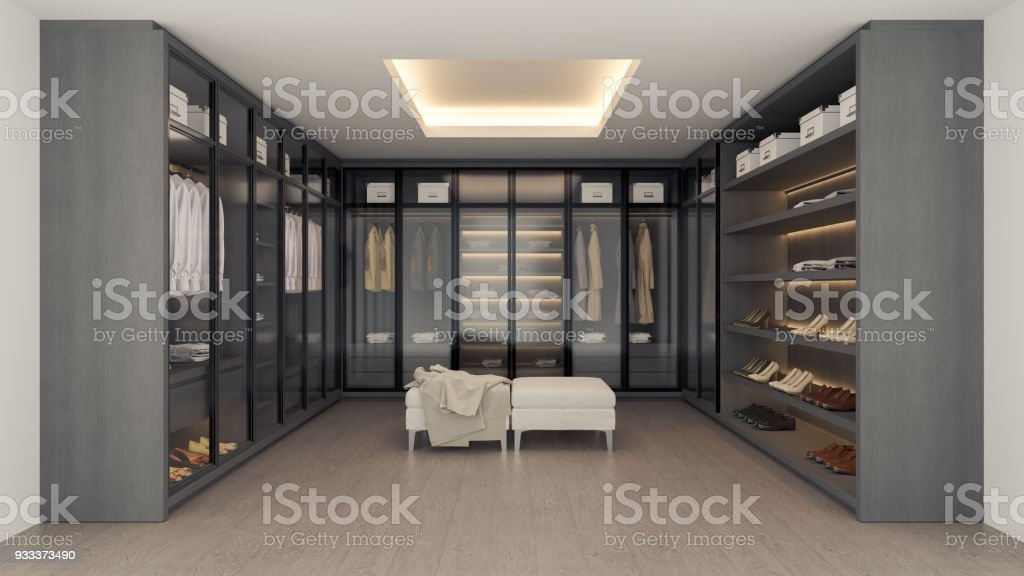 Moderne Luxus Ankleidezimmer Interieur, Begehbaren Schrank, Grau Und  Schwarz Garderobe Design, 3d Rendering