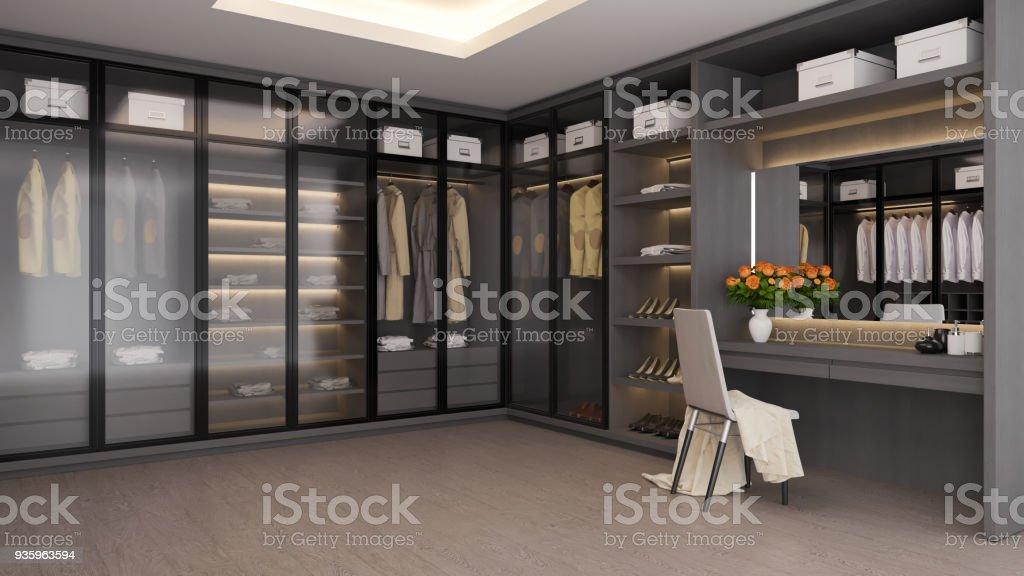 Moderne luxus ankleidezimmer interieur begehbaren schrank grau und