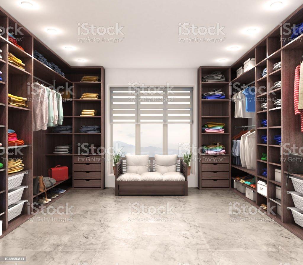 Moderne Luxus Dressing Room Garderobe 3d Illustration Stockfoto und mehr  Bilder von Accessoires
