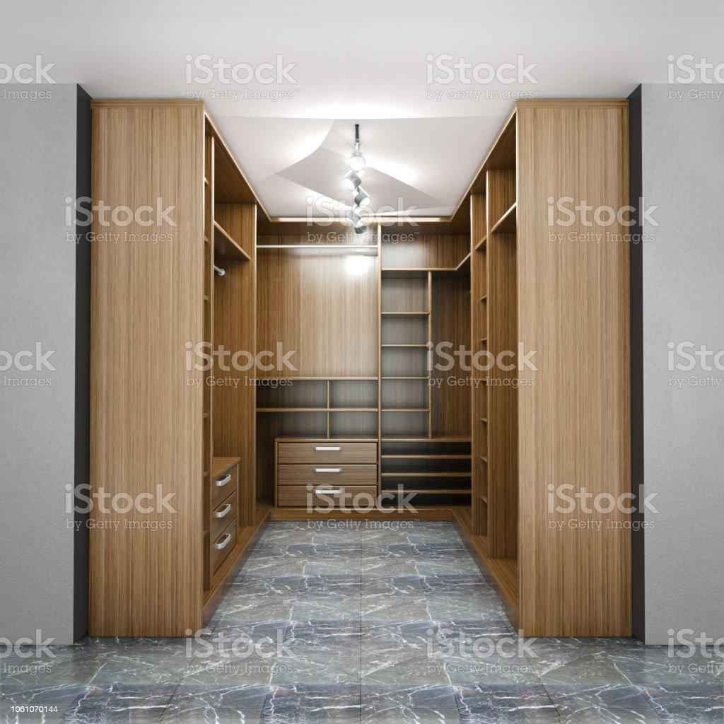 Moderne Luxus Dressing Room Garderobe 3d Visualisierung Stockfoto und mehr  Bilder von Architektur