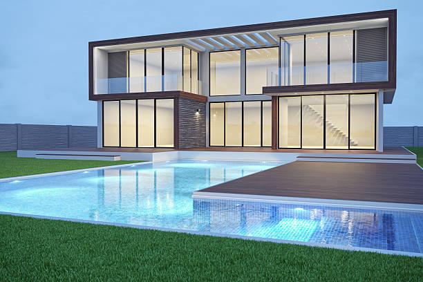 moderner luxus leere villa – außenansicht - moderner dekor für ferienhaus stock-fotos und bilder