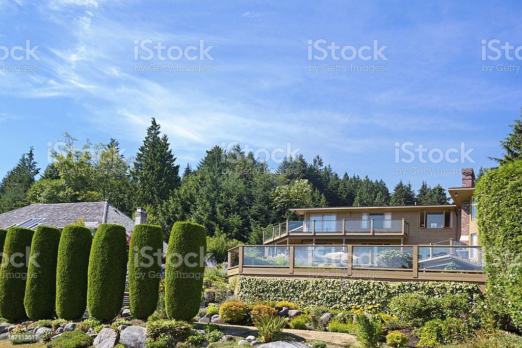 Modern luxury home backyard royalty-free stock photo