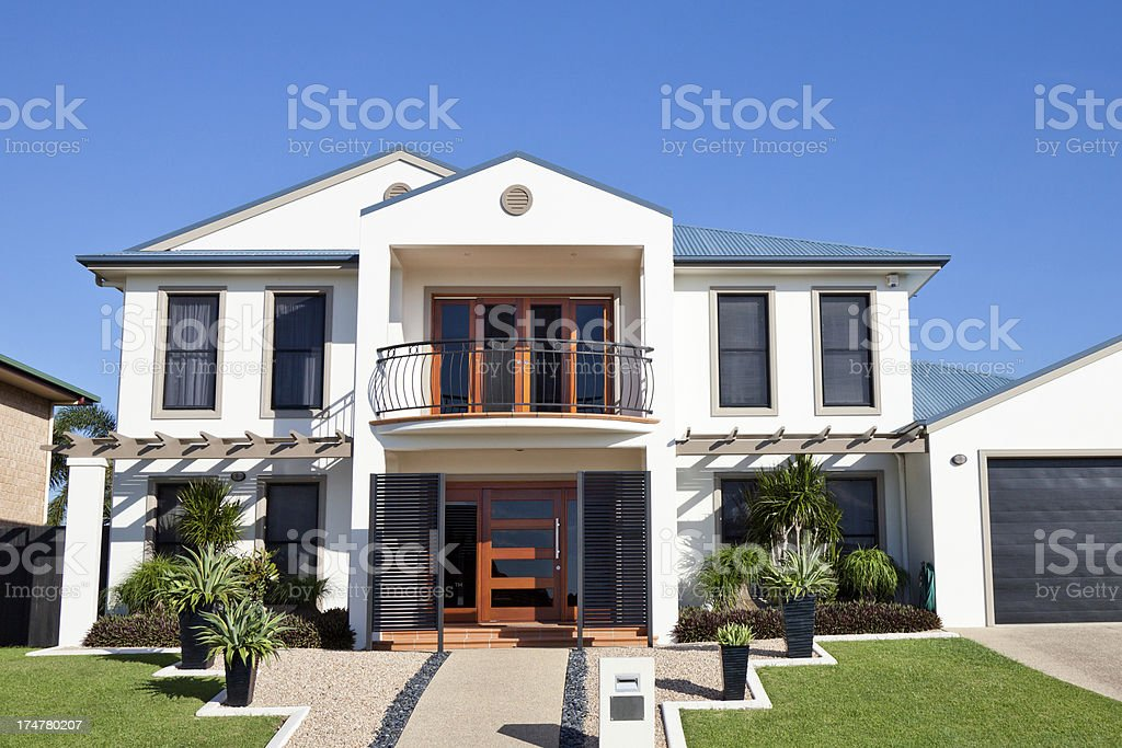 Modern Luxury Home Front Two Story stock photo