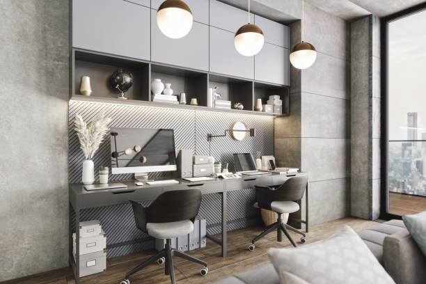 Modern Luxury Home Office Interior stock photo