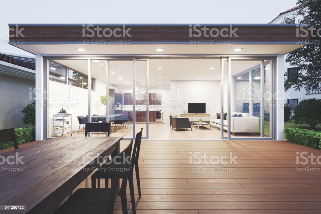 Modern Luxury Home Showcase Patio stock photo