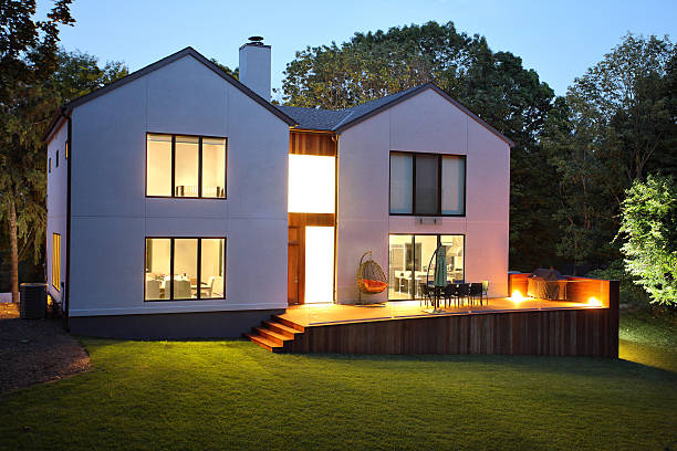 Modern luxury house and garden stock photo