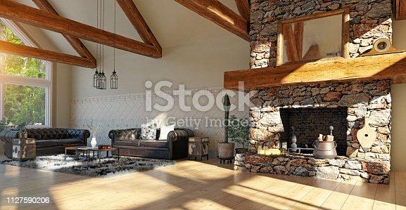 modern luxury house interior. 3d rendering design