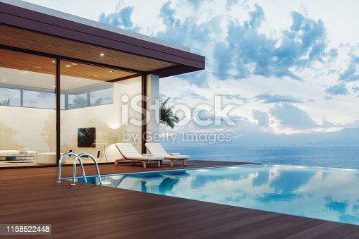 Modern luxury villa exterior with infinity pool and beautiful ocean view at dawn.