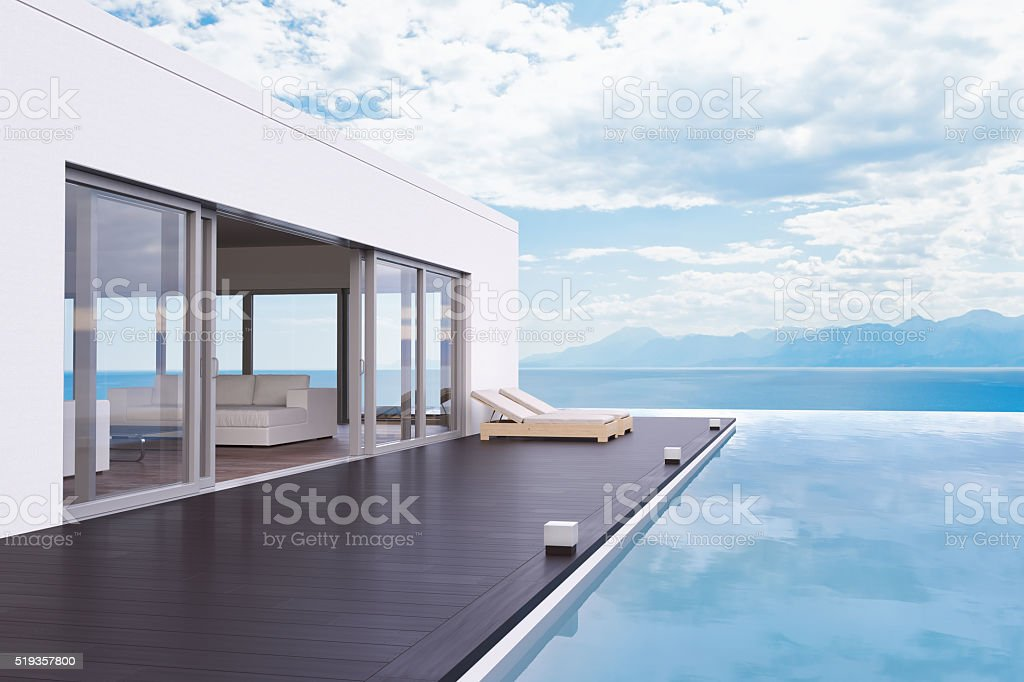 Modern Luxury House With Pool stock photo