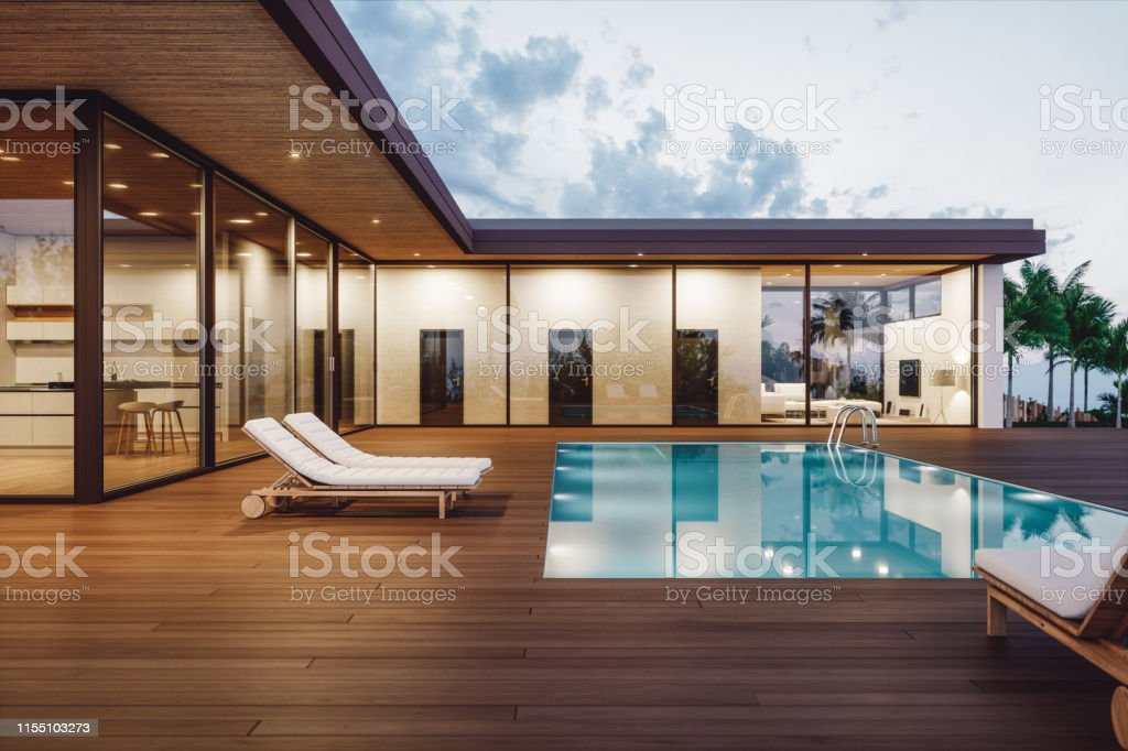 Modern Luxury House With Private Swimming Pool At Dusk Stock Photo Download Image Now Istock