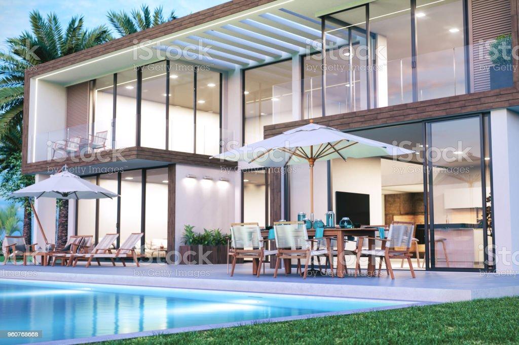 Moderne Luxus Haus Mit Pool Lizenzfreies Stock Foto