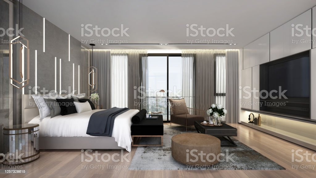 Modern Luxury Interior Design Of Beautiful Bedroom And Tv Console Wall Stock Photo Download Image Now Istock