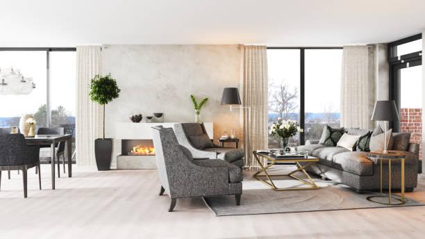 moderne luxus interior - outdoor esszimmer stock-fotos und bilder