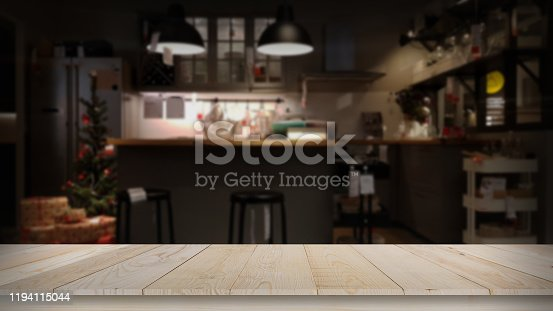 Modern luxury kitchen black golden tone with wooden tabletop space