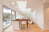 Modern  luxury kitchen penthouse condominium home. Modern kitchen house interior.