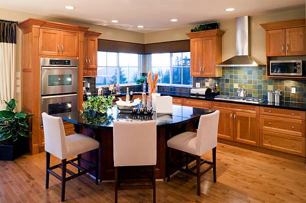 modern luxury kitchen estate house stock photo