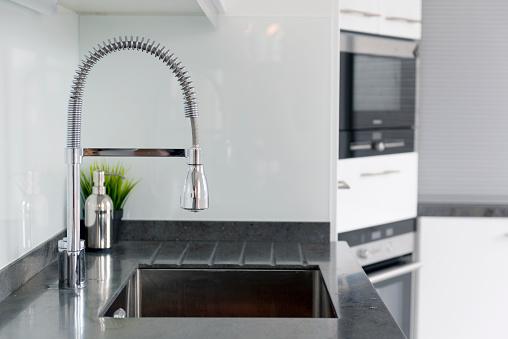 Modern  luxury kitchen. Modern kitchen house interior.