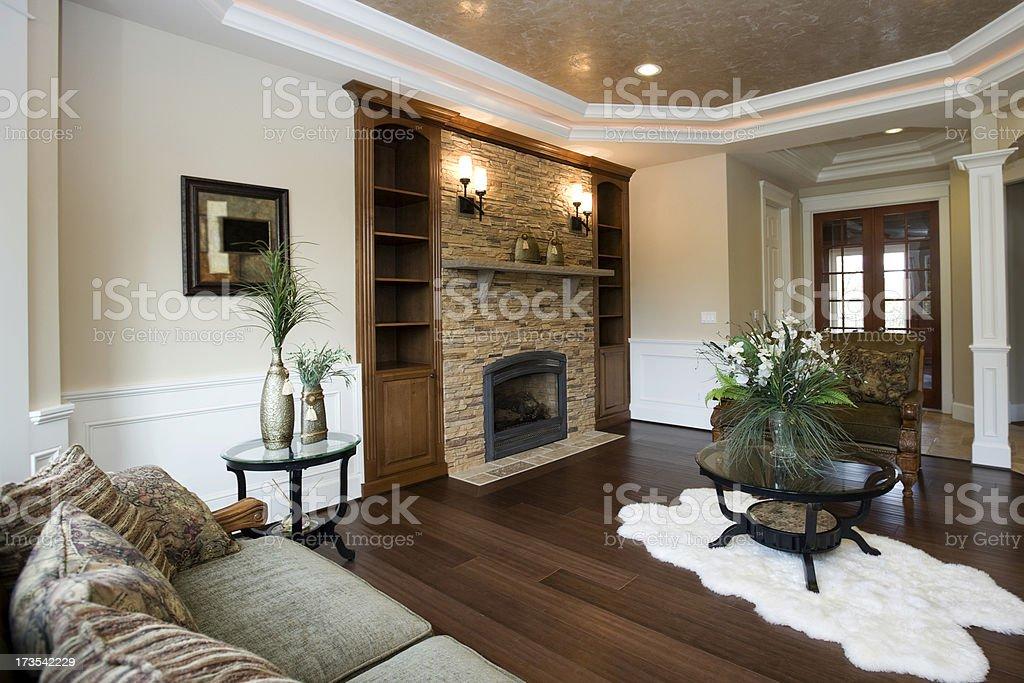 Modern Luxury living room interior design architecture wood floors fireplace stock photo