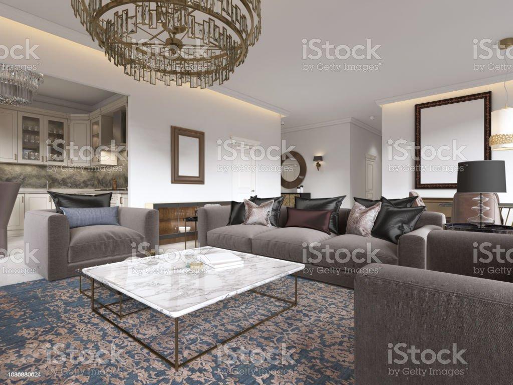 Moderne Luxus Wohnzimmer Mit Einem Sofa Sessel Einen ...