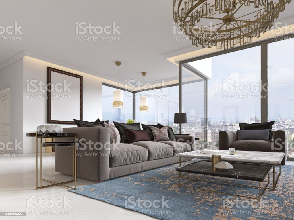 Picture of: Modern Luxury Living Room Interior With A Sofa Armchairs A Coffee Table And A Dining Table With A Kitchen Stock Photo Download Image Now Istock