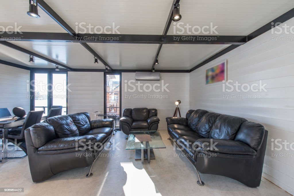 Modern Luxury Living Room With Big Leather Sofas Stock Photo ...