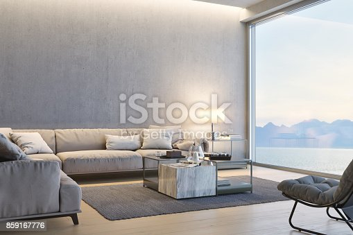 istock Modern Luxury Living Room With Ocean View At Sunset 859167776