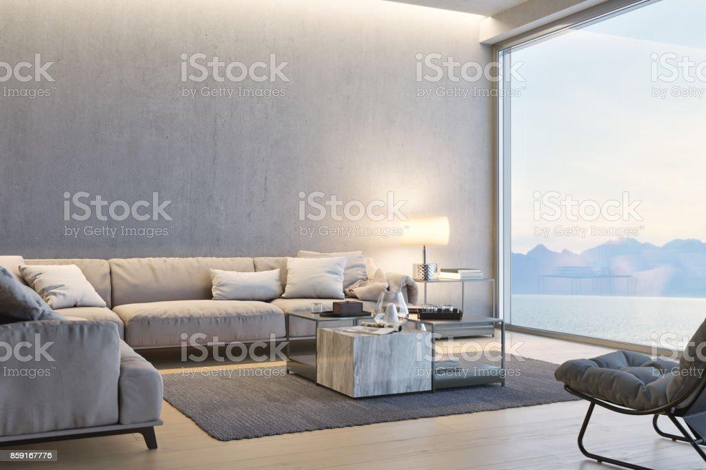 Moderne Luxus Wohnzimmer mit Blick auf das Meer bei Sonnenuntergang – Foto