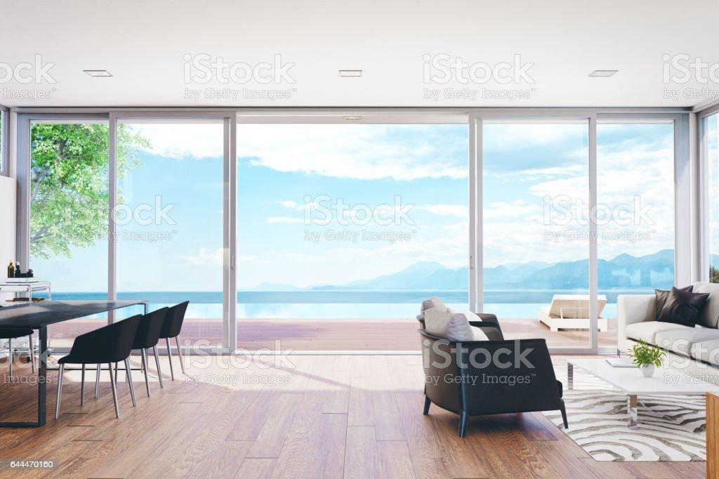 Sala de estar de lujo moderno con piscina y vista al mar - foto de stock