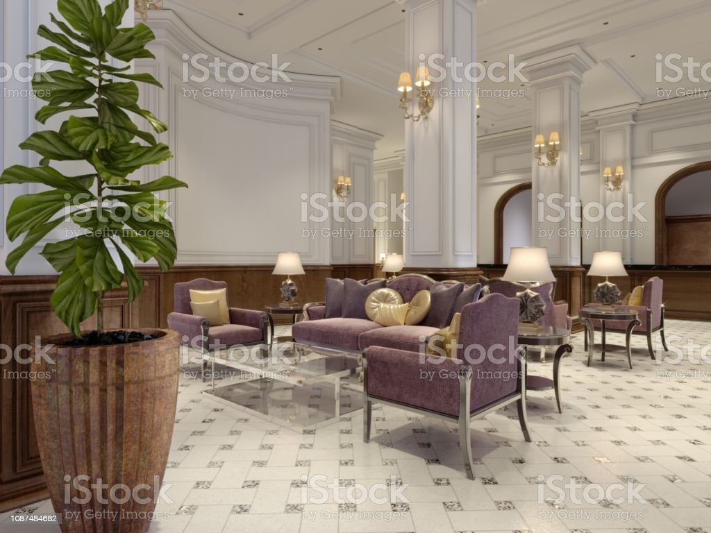 Modern luxury lobby hotel interior with luxurious furniture. 3d...