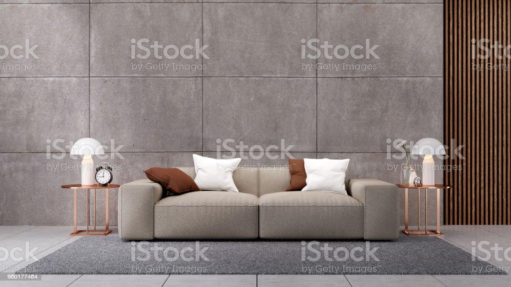 Luxuriöses penthouse wohnzimmer mit blick auf die stadt fototapete