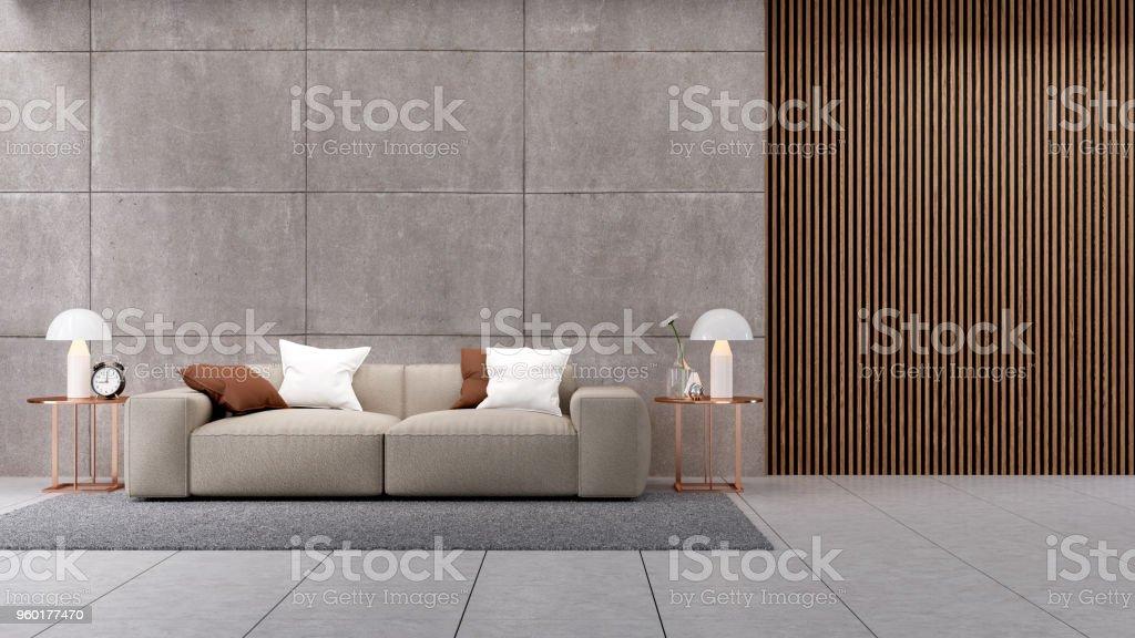 Moderne Luxus Penthouse Innenarchitektur Wohnzimmer Braunen Sofa Auf