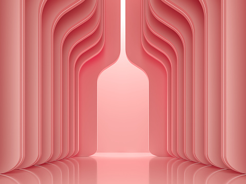 Modern luxury space interior with coral pink concept 3d render