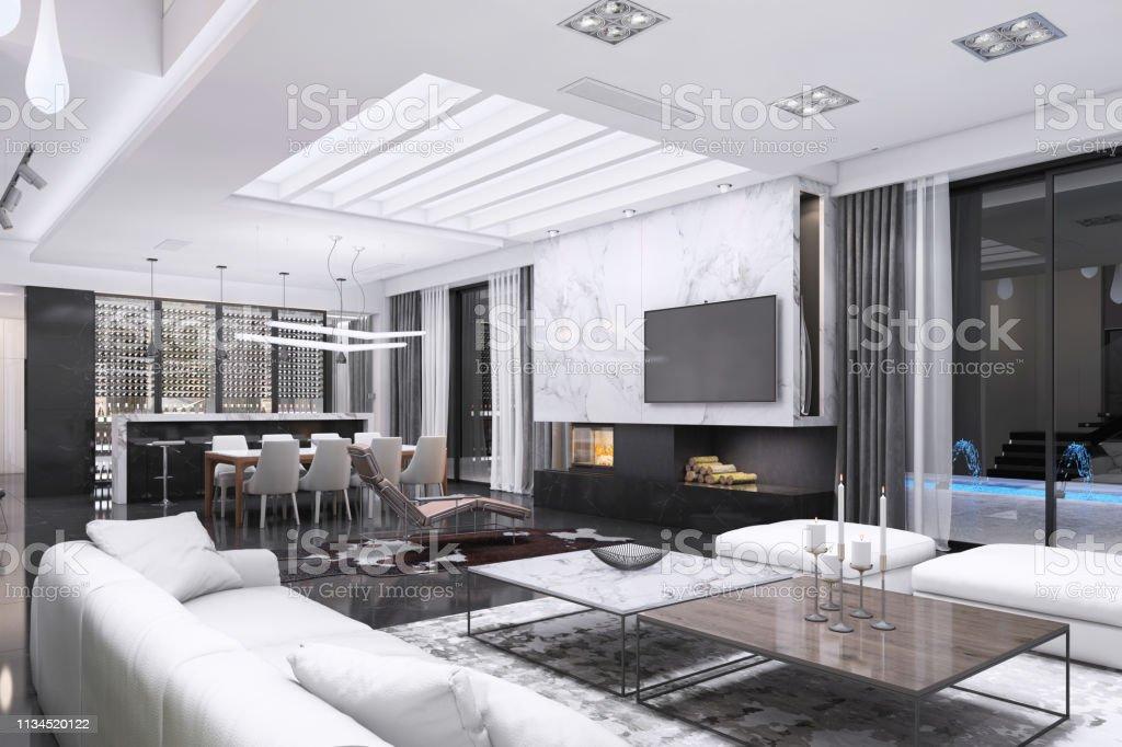 Moderne Luxusvilla Interieur Stockfoto und mehr Bilder von ...