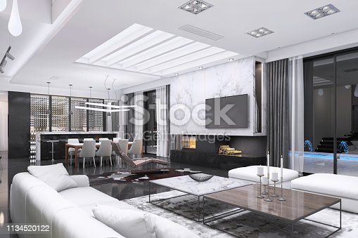 Modern luxury villa interior. Large living room with TV above a fireplace. Kitchen and dining room in the back. White marble on the wall. Render