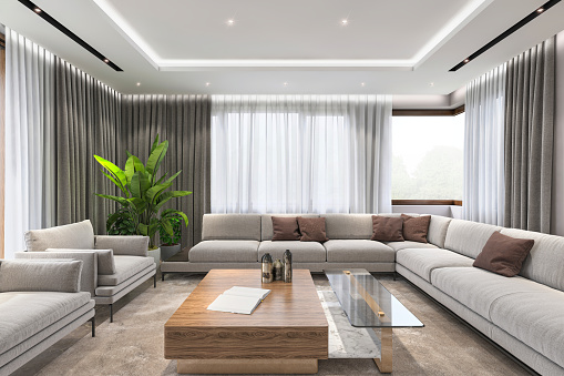 Modern villa interior, large sofa and armchairs, coffee table and lot of sunlingt. render