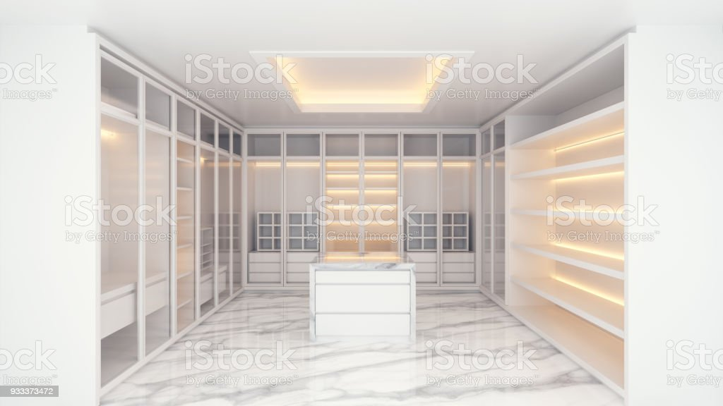 Modern Luxury Walk In Closet Interior, White Wardrobe On Mable Floor ,3d  Rendering Royalty
