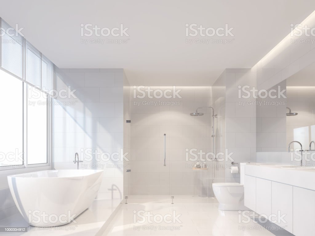 Weiße Moderne Luxus Badezimmer 3d Render Stockfoto und mehr ...
