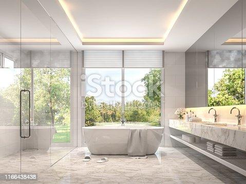 istock Modern luxury white bathroom with garden view 3d render 1166438438