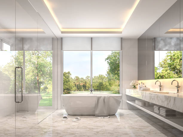 Modernes luxuriöses weißes Badezimmer mit Gartenblick 3d render – Foto